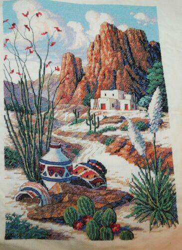 SOUTHWEST MESA  Finished Dimensions Cross Stitch Piece Pueblo native Desert