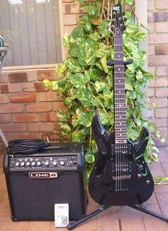 Schecter SGR Guitar & Line 6 Combo Amp, Stand, Tuner - AS NEW