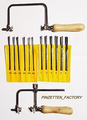 2er Profi Juwelier Säge mit Holzgriff,  dazu 288 Sägeblätter(12x24)set