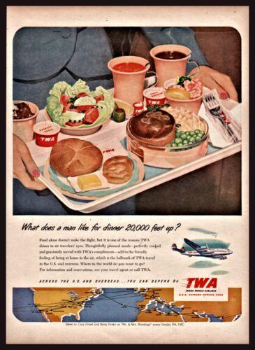 1951 TWA Stewardess Serves Airline Meal DinnerTray Vintage Print AD