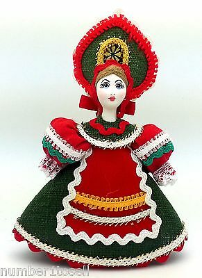 CHRISTMAS Tree Ornament Russian Doll in traditional folk costume porcelain face