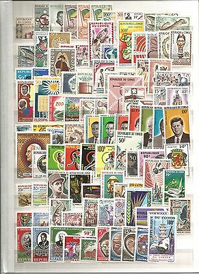 Congo 1959-92 MNH Collection on 12 sides. French Colonies Cat £2500+. Full sets.