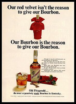 1967 Old Fitzgerald Bourbon Whiskey Christmas Red Velvet Gift Vintage Print Ad