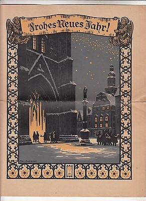 Schmuckbrief Glückliches Neujahr Dresden Frauenkirche Max Brückner 1927 ! (D20