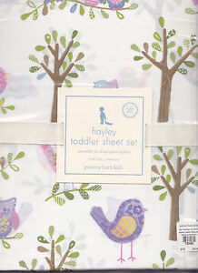 pottery barn kids hayley 3 pc toddler sheet set,goes/w penelope,bird,owl,crib