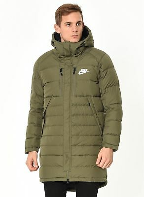 Nike NSW AV15 Down Fill Long Parka Jacket Olive Green 807393 222 Men's 2XL NWT