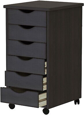 Roll Cart 6 Drawers Tall Office File Cabinet Solid Wood Mobile Furniture Black