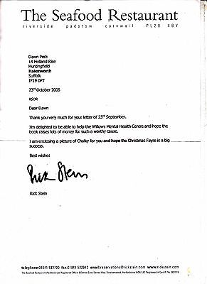 RICK STEIN AUTOGRAPHED LETTER FROM HIS RESTAURANT