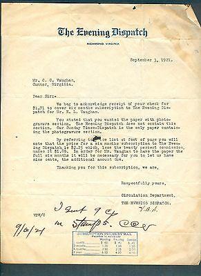 Sept 3 1921 Evening Dispatch  Richmond  Va Letterhead Letter   Richmond Times