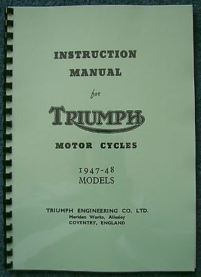 Triumph Instruction Manual 1947-48 models 3T, 5T, T100 TW13A