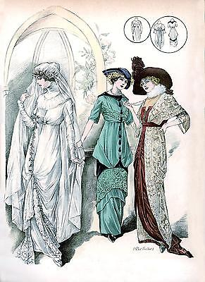 5 Victorian Edwardian Wedding Dress Fashion Prints Reproduction Pictures NEW Set
