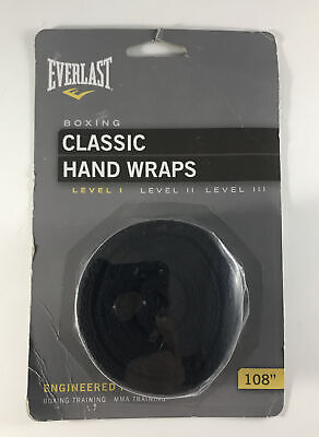 "Everlast Classic Hand Wraps 108"" Black Level 1 Boxing MMA Training Model 4455BP"