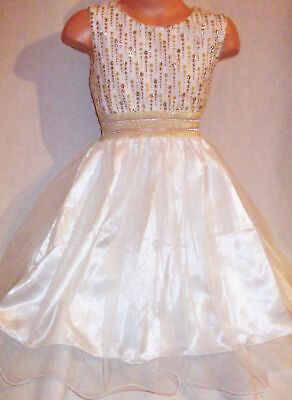GIRLS WHITE GOLD GLITTER PRINT SATIN TULLE PRINCESS PAGEANT PARTY DRESS age 5-6 (Girls White Party Kleider)