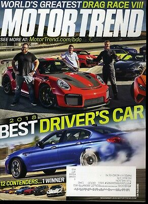 Motor Trend Magazine November 2018 Best Driver's Car, Drag Race