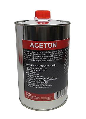 ACETON 1 Liter 99,5 Verdünnung Reiniger Entfetter Lackverdünner Aceton 1L