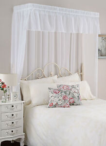 Bed canopy half tester style white or cream complete set for Build your own canopy bed