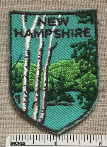 Vintage 1970s NEW HAMPSHIRE Travel Souvenir PATCH Twill Embroidered Birch Trees