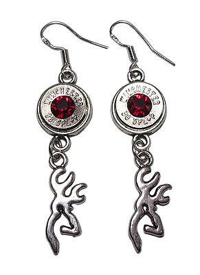 WINCHESTER 38 Special Bullet Jewelry Dangle Earrings w. Buck Deer (Made in USA)