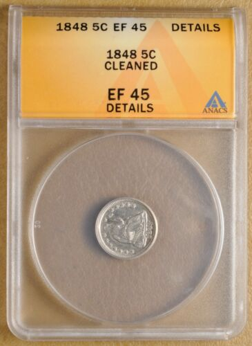 1848 Seated Liberty Half Dime ANACS EF 45 Details