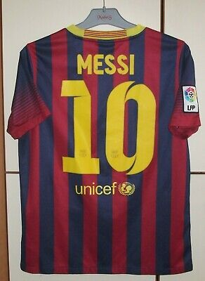4385a9cf4d2 FC BARCELONA 2013/2014 HOME FOOTBALL SHIRT JERSEY NIKE #10 MESSI Young XL