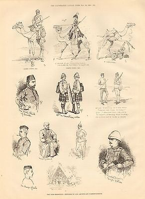 1884 ANTIQUE PRINT-NILE EXPEDITION- SKETCHES 2  CAMEL CORPS