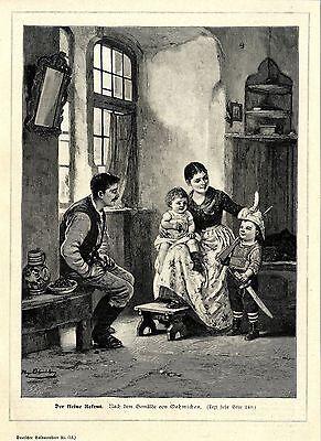 Hugo Oehmichen ( Der kleine Rekrut ) Holzstich Graphik von 1897