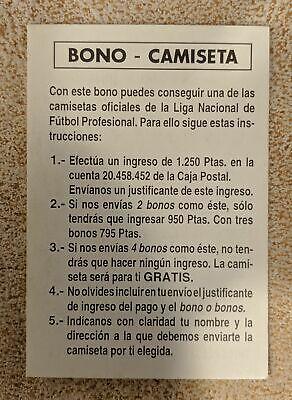 CROMOS FUTBOL MUNDI CROMO 1995 LFP Nº: NUMERO: BONO-CAMISETA