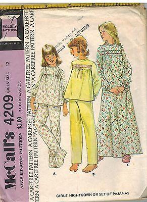 4209 Vintage Mccalls Nähmuster Mädchen Nachthemd Set Schlafanzug Top Hose Oop (Vintage Mädchen Nachthemd)