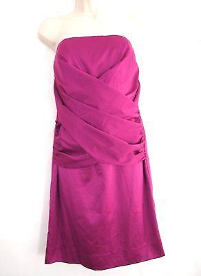 Nicole Miller Womens Dress 6 Fuschia Pink Gathered Strapless Evening Cocktail Womens Nicole Miller