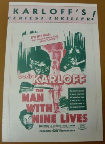 Vint & Complete The MAN WITH NINE LIVES (R47 Re-release of 1939 film) PRESSBOOK
