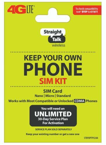 STRAIGHT TALK SIM CARD CDMA PHONES  NETWORK ACTIVATION KIT B