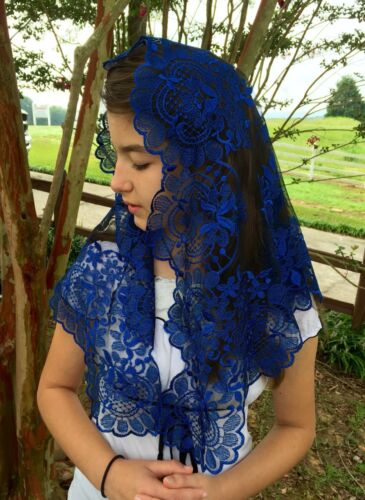 Blue on Black Spanish style veils and mantilla Catholic church chapel lace L
