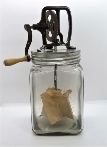 Vintage Daisy Hand Crank Butter Churn 3 Qt. Glass Jar