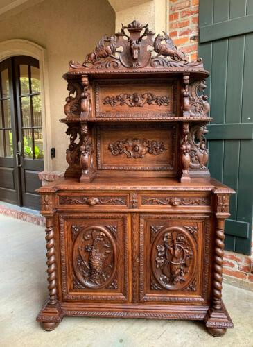 Antique French Carved Oak Hunt Cabinet Sideboard Black Forest BARLEY TWIST