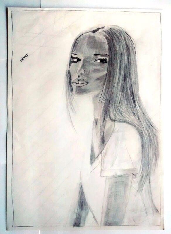 Danor Shtruzman Drawing 2013 Model Carola Remer Eye Portrait Deep Look See Black