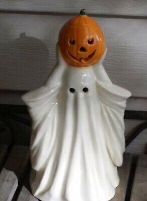 Unusual Vtg Halloween Ceramic Ghost Holding Pumpkin Overhead Mid Century Modern