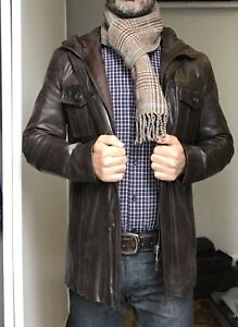 Zara Men's  Leather Jacket with removable hood, size Small