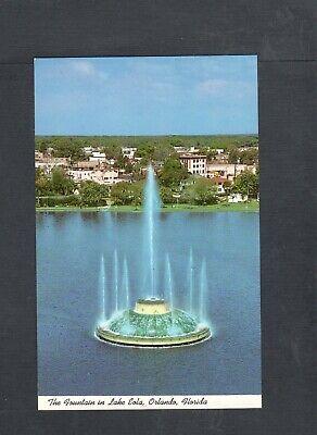 J703 Chrome Postcard 3x5 unused Fountain Lake Eola Orlando FL