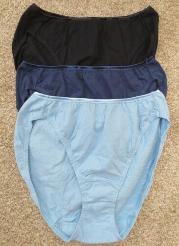 lot of 3 VANITY FAIR BLUE multi 100% cotton HI LEG briefs panties size 6 / M