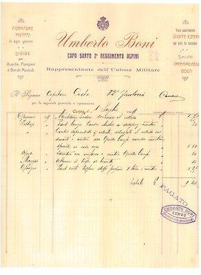 UMBERTO BONI CAPO SARTO 2° REGGIMENTO ALPINI CUNEO DUE FATTURE 1909 MILITARIA