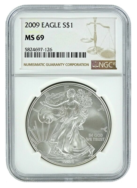 2009 1oz Silver American Eagle NGC MS69 Brown Label