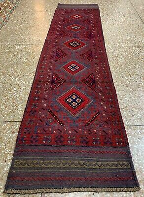 New Afghan Hand Woven Mashwani Wool Kilim Runner Rug 8 x 2 Ft (1738 HMN)