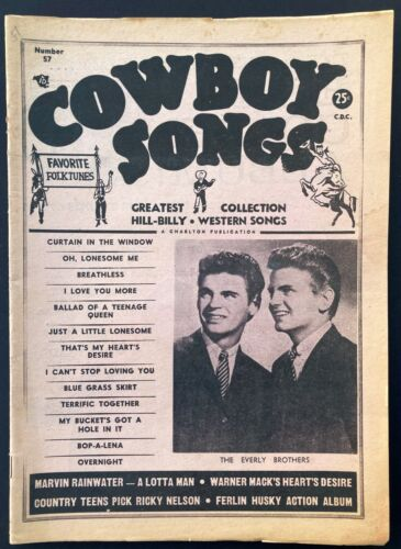 "1958 EVERLY BROS, BUDDY HOLLY, ELVIS ""COWBOY SONGS"" #57 COUNTRY MUSIC MAGAZINE"