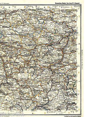 Erfurt Eisenach Sonneburg 1898 orig. Eisenbahn-Atlaskarte Weimar Rudolstadt Suhl