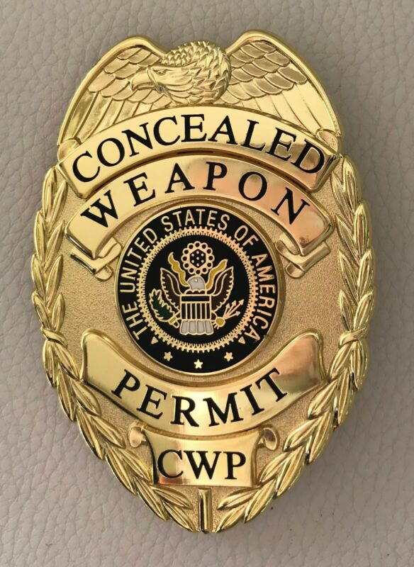 Gold Badge prop costume permit ccw pin on back