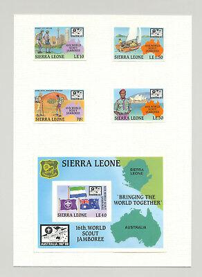 Sierra Leone #924-928 Boy Scouts Jamboreee 4v & 1v S/S Imperf Chromalin Proofs