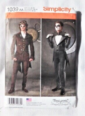 NEW SIMPLICITY SEWING PATTERN 1039 MENS STEAM PUNK GOTH COSTUME 38-44