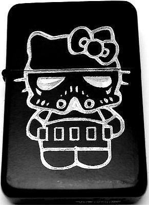 Hello Kitty Stormtrooper Star Wars Black Engraved Cigarette Lighter LEN-0156](Hello Kitty Stormtrooper)
