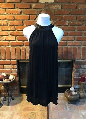 Vintage Black Metallic Threading sz Small Flapper Inspired Baby Doll Mini Dress