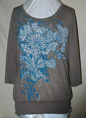 STYLE & CO MACY'S SO PRETTY BLOUSE METALLIC SILVER TURQ BEADS TUNIC LENGTH XL/OX